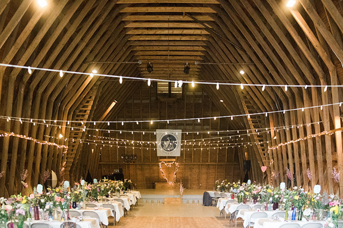 Darrows Barn decorated for a wedding