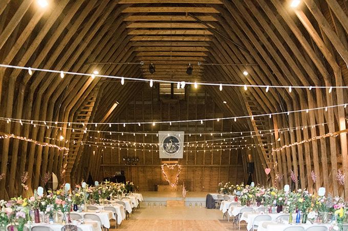 Darrows Barn decorated for a wedding