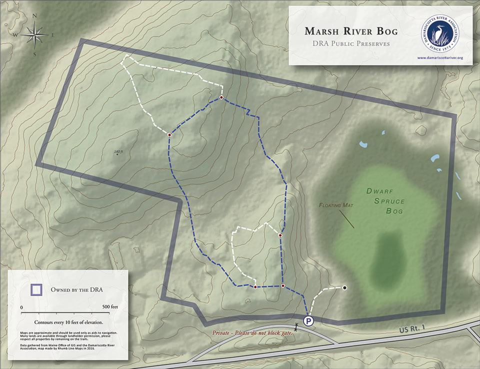 map of Marsh River Bog Preserve