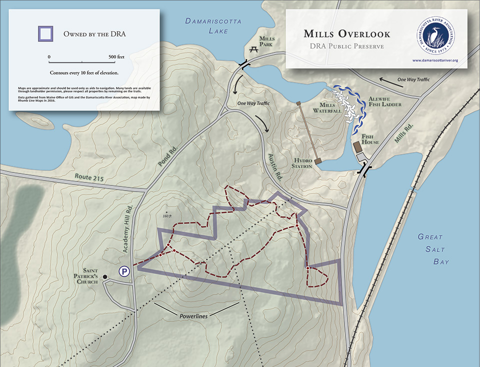 map of Mills Overlook trail