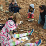 3rd graders learning Math in the Woods