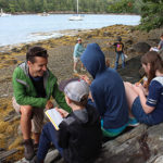 teacher and students on Witch Island