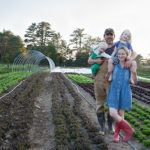 The farmers and their family in the field