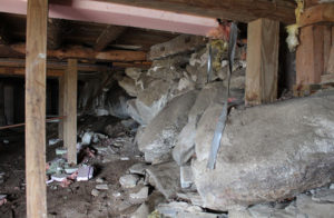 basement interior showing collapsing foundation