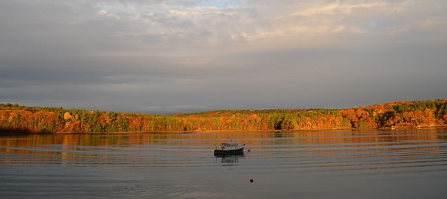 lobster boat at sunset