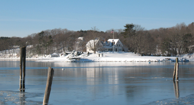 new ice on the Damariscotta River