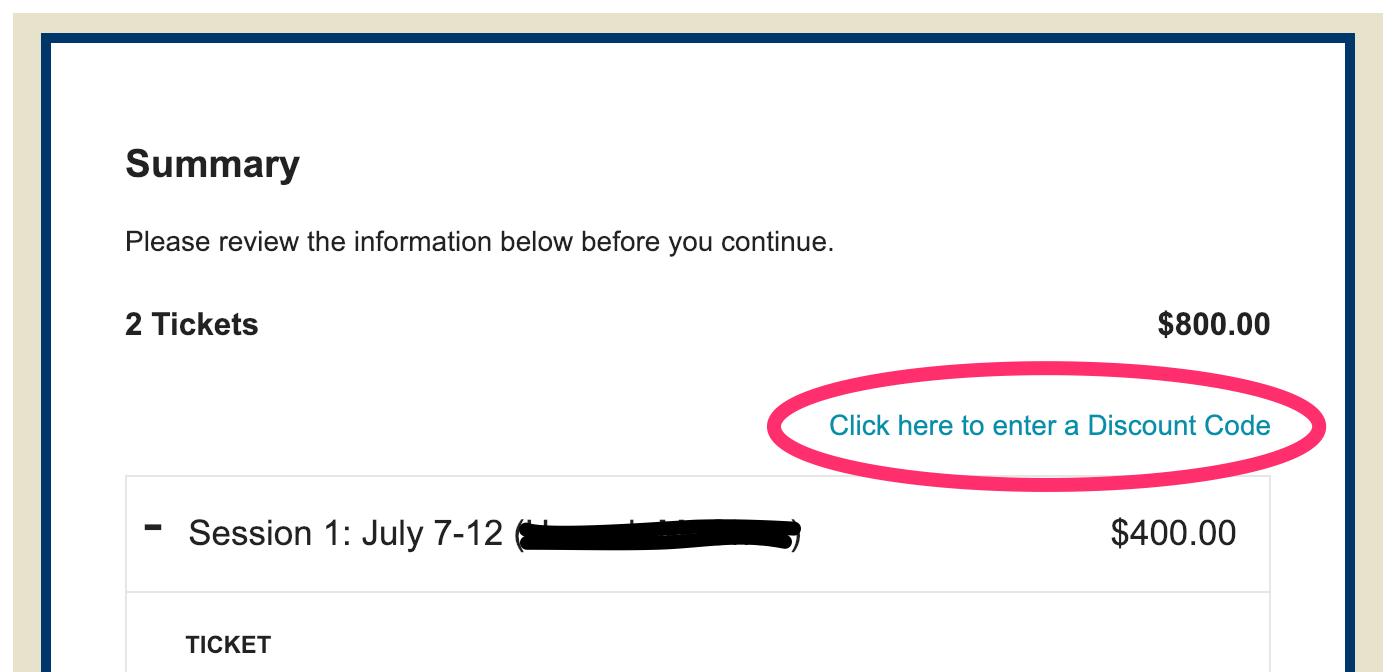 screenshot showing where to enter discount