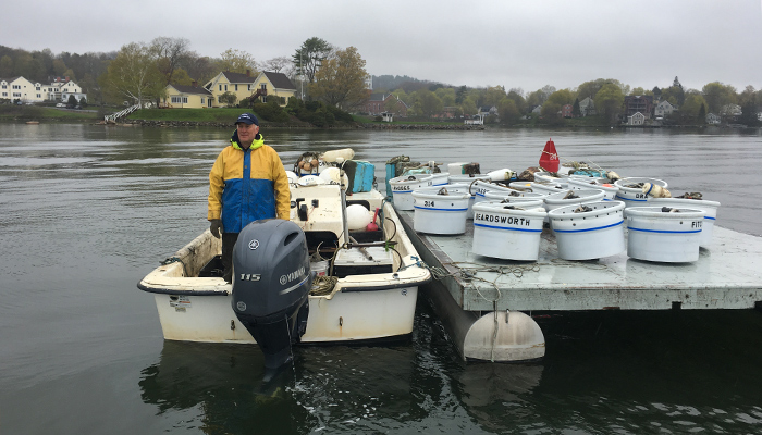 Eric Peters deploys the new mooring balls