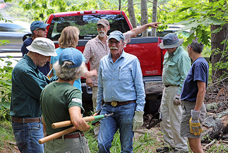 volunteers mustering at the work site
