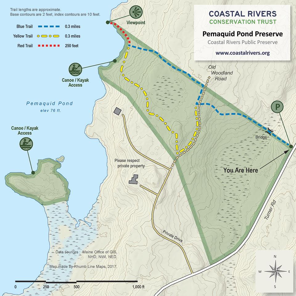 map of Pemaquid Pond Preserve