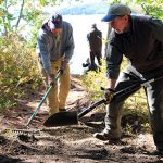 volunteers working on trail at Dodge Point