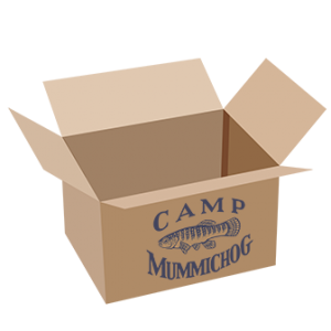 open box with Camp Mummichog logo