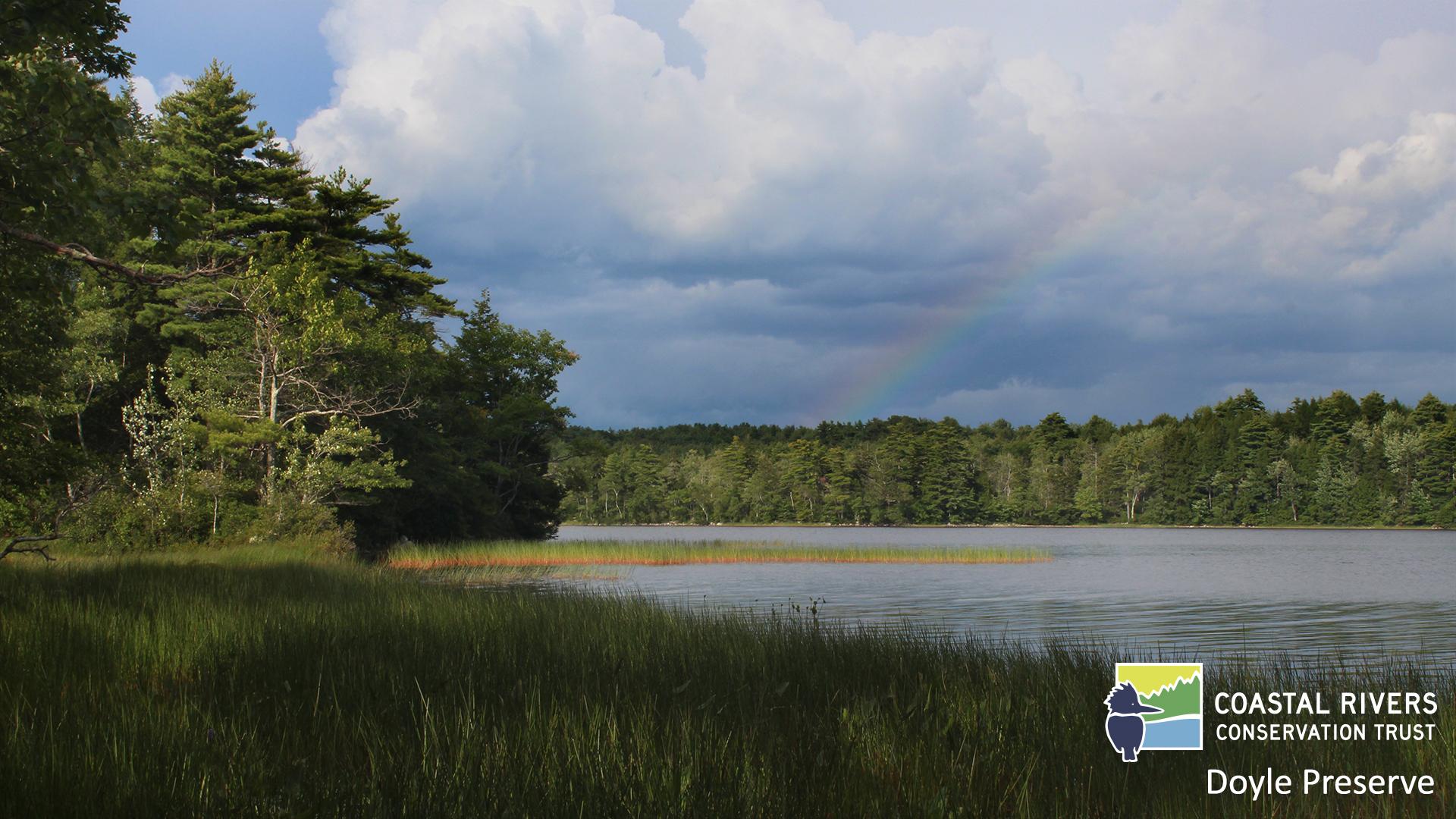 rainbow over Pemaquid Pond at Doyle Preserve