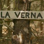 Wooden sign at La Verna
