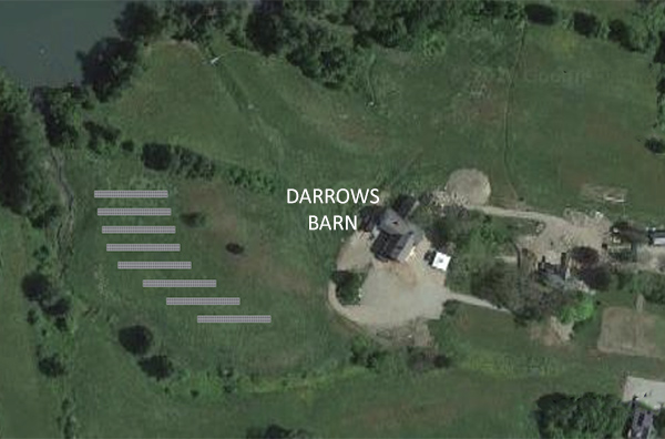 mockup of proposed solar array at Round Top Farm