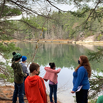 students on a field trip to Whaleback Shell Midden