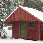 Barnaby's wood shop in the snow
