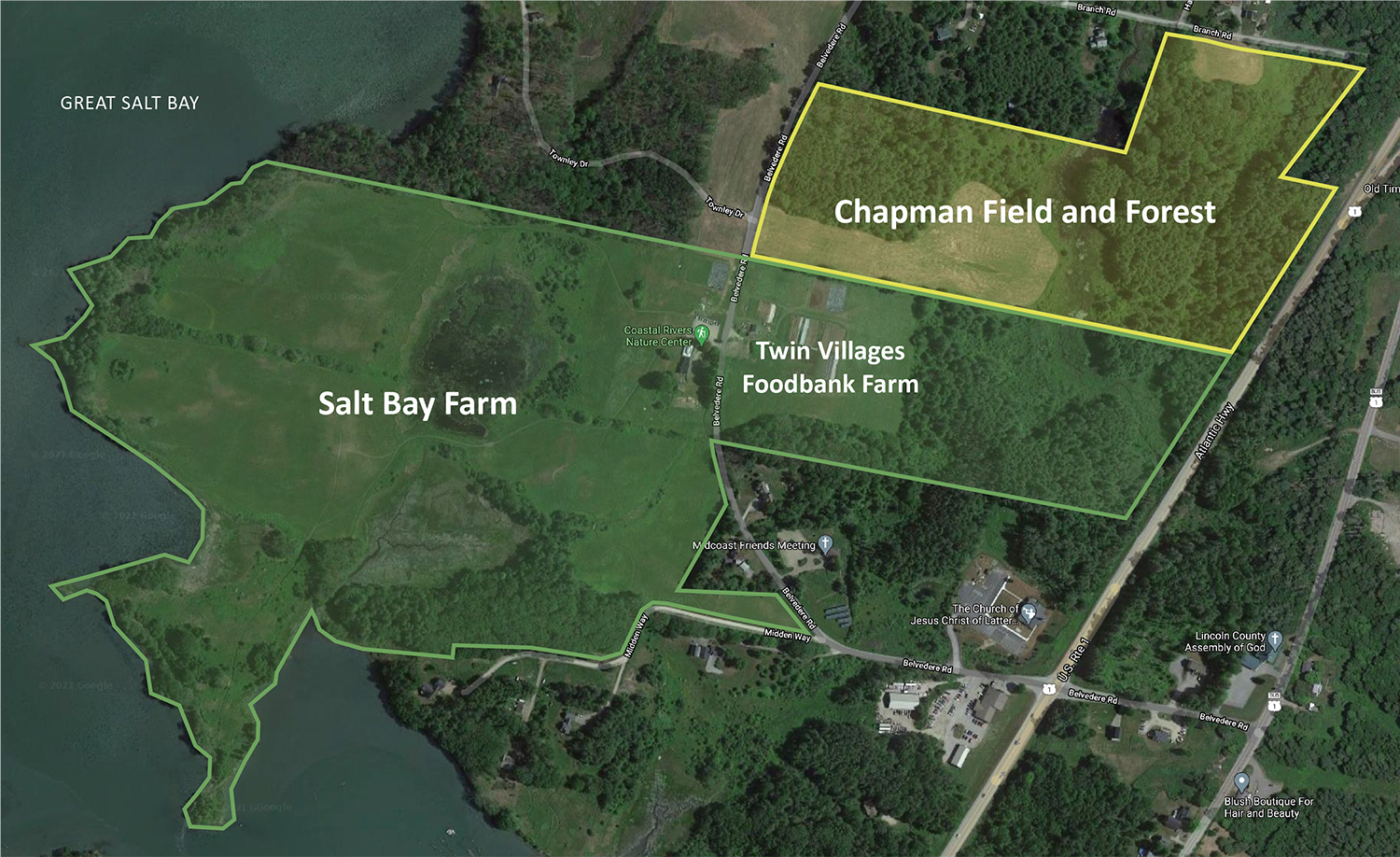 map of Salt Bay Farm with overlays showing new property