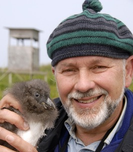 Dr. Stephen Kress holding an Atlantic puffin chick