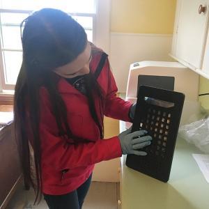 preparing water sample to go through sealer