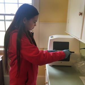 feeding water sample envelope through sealer