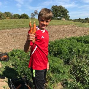 boy with big carrot
